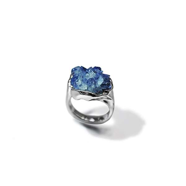 One-of-a-kind rough blue sapphire fine contemporary ring