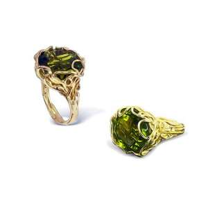 unique tourmaline yellow gold ring