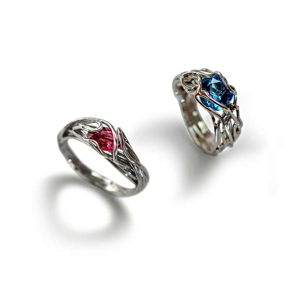 non traditional gemstone wire engagement rings