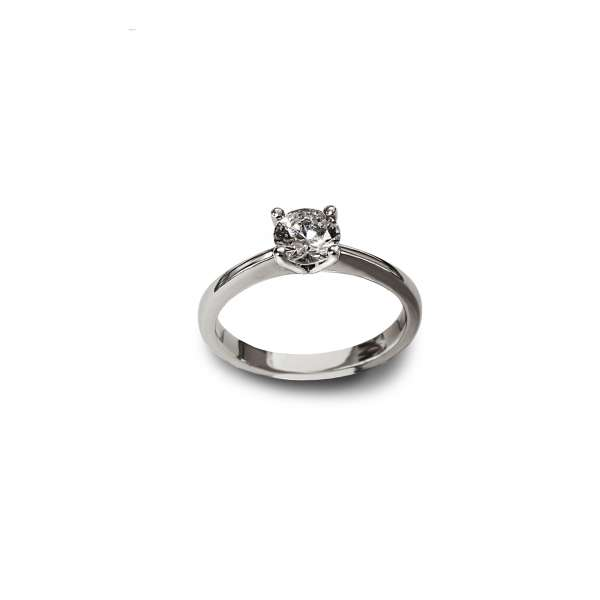 Diamond four claw solitaire white gold engagement ring