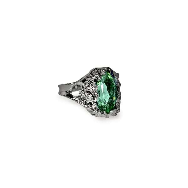 Organic rough textured ring with a tourmaline