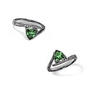 Crossover tourmaline engagement ring with pave set diamonds