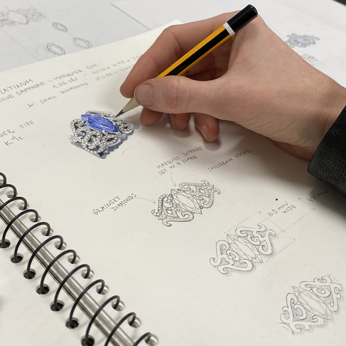 bespoke jewellery design sketches on paper