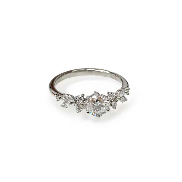 Diamond platinum engagement ring Snowflake with a small diamonds on the sides